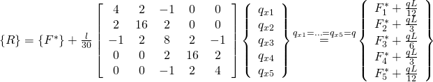 \left\{ R \right\} = \left\{{{F^*}} \right\}+\frac{l}{{30}}\left[ {\begin{array}{*{20}{c}} 4&2&{-1}&0&0 \\ 2&{16}&2&0&0 \\ {-1}&2&8&2&{-1} \\ 0&0&2&{16}&2 \\ 0&0&{-1}&2&4 \end{array}} \right]\left\{{\begin{array}{*{20}{c}}{{q_{x1}}} \\ {{q_{x2}}} \\ {{q_{x3}}} \\ {{q_{x4}}} \\ {{q_{x5}}} \end{array}} \right\}\mathop = \limits^{{q_{x1}} = \ldots = {q_{x5}} = q} \left\{{\begin{array}{*{20}{c}}{F_1^*+\frac{{qL}}{{12}}} \\ {F_2^*+\frac{{qL}}{3}} \\ {F_3^*+\frac{{qL}}{6}} \\ {F_4^*+\frac{{qL}}{3}} \\ {F_5^*+\frac{{qL}}{{12}}} \end{array}} \right\}